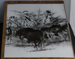 """Poster  """" Indianen op paarden met wolven """""""