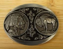 """Buckle / gesp  """" Indiaan + bizon """"    Zilver kleurig"""