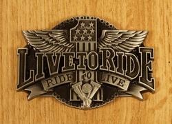 "Buckle / gesp  "" Live to ride, ride to live ""  Koper kleurig"