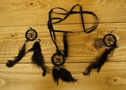 """Ketting + oorbellen  """" Dreamcatcher zwart """""""