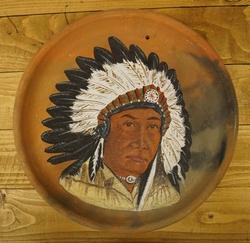 """Decoratie bord met indianen print  """" Indiaan met verentooi """""""