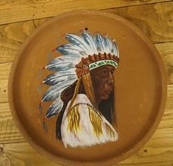 """Decoratie bord met indianen print  """" Oudere indiaan """""""