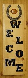 """Decoratiebord  """" Welcome met hoefijzer en leren wolf """""""