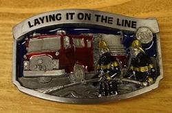 """Losse gesp  """" Laying it on the line """"  ( Brandweerman )"""