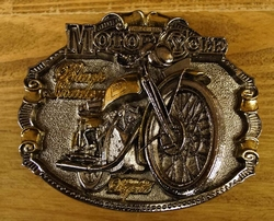 "Motor cycle buckle  "" Black shadour ""  Zilver/goudkleurig"