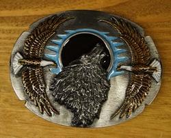 """Siergesp  """" Wolf  met 2 vliegende adelaars """""""