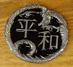 """Buckle / gesp """" Keltische draak met keltische tekens """""""
