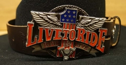 """Hoedband  """" Live to ride, ride to live   """" bruin"""