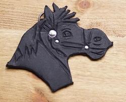 """Sleutelhangers van leer """" Paard """" Zwart"""