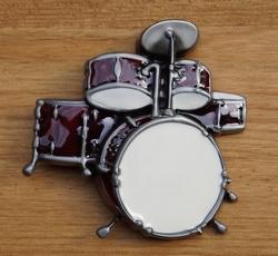 "Muziek gesp  "" Drumstel  ""  Rood/wit"