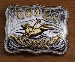 "Western buckle  "" Rodeo ""  Zilver- / goudkleurig"