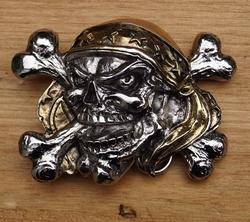 """Belt buckle  """" Piraten doodskop """"   Zilver- / goudkleurig"""