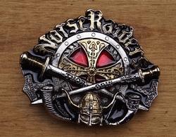 """Belt buckle  """" Norse raiders """"  Zilver- / goudkleurig / rood"""