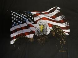 "T shirt ""  Adelaar met Americaanse vlag ""  Zwart"