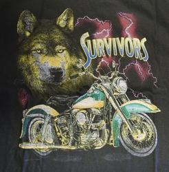 "T shirt ""  Wolf met motor ""  Zwart"
