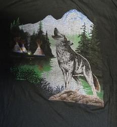 """T shirt """"  Wolf bij tipi tenten """"   Zwart"""