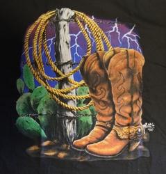 """T shirt """"  Cowboy laarzen met lasso """"  Zwart"""