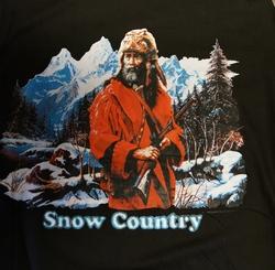 "T shirt "" Cowboy in de sneeuw ""  Zwart"