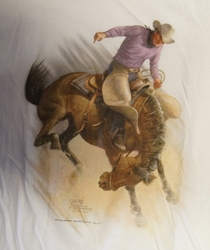 "T shirt "" Rodeo riding ""  Wit"