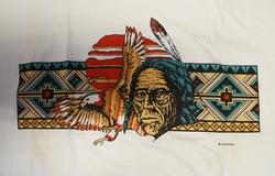 """T shirt """"  Indiaan met adelaar  """"  Wit"""