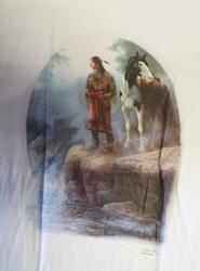 """T shirt """"  Indiaan op rots met paard """"  Wit"""