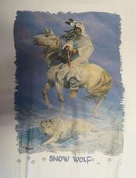 """T shirt """"  Snow wolf,  Indiaan in de sneeuw """"  Wit"""