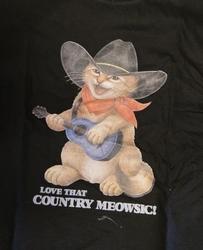 """Kinder T shirt """"  Kat met gitaar """"  Zwart"""