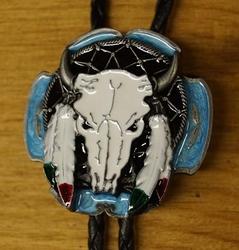 """Large Bolo tie  """" Longhorn """"  Wit / blauw / zwart"""