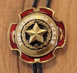 """Large Bolo tie  """" The state of Texas """" Goud / rood"""
