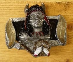 """Buckle  """" Indianen gezicht met veren """""""