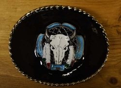 "Buckle "" Stieren skull op mandela ""  zwarte achtergrond"