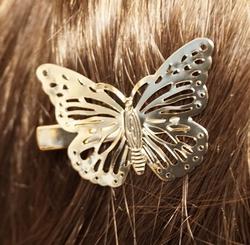 """Haarklem  """" Vlinder  """"   Goudkleurig   Links"""