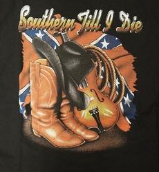 """T-shirt """" Southern till & die """" Zwart"""