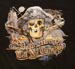 "T-shirt "" Dead men tell no tales "" Zwart"
