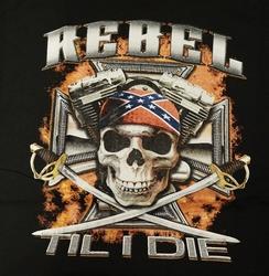 "T-shirt "" Rebel til i die "" Zwart"