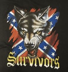 "T-shirt "" Wolvenkop op rebelvlag "" Zwart"