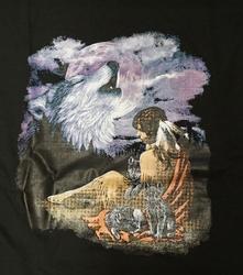 """T-shirt """" Wolvenkop met indiaanse """"  Zwart"""