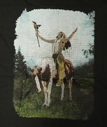 """T-shirt """" Indiaanse met adelaar """" Zwart"""