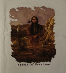 "T-shirt "" Indiaan Spirit of freedom "" Wit"