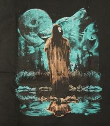 """T-shirt """" Indiaan bij volle maan en wolvenkop """" Zwart"""