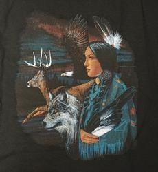 """T-shirt """" Indiaanse, wolf, hert en adelaar """" Zwart"""