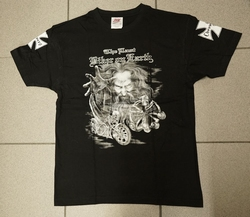 "T-shirt "" The last biker on earling "" Zwart"