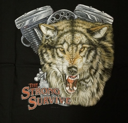 "T-shirt "" The strong survive "" Wolf met motorblok Zwart"