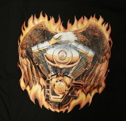 """T-shirt """" Adelaar met motorblok """"   Zwart"""