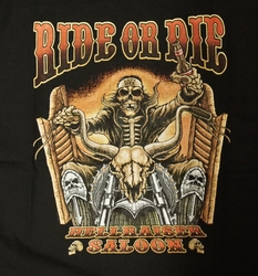 "T-shirt "" Ride or die hellraiser saloon "" Zwart"