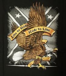 "T-shirt "" Live to ride, ride to live "" Adelaar Zwart"