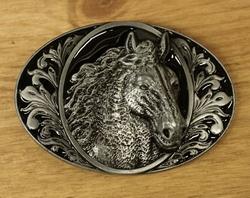"""Western gesp  """" Paardenhoofd """"  zwart / zilverkleurig"""