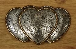 """Sterling zilveren buckle """" Hartjes """"  zilver / goud"""