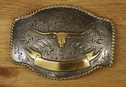 """Sterling zilveren buckle """" Stierenschedel """" zilver / goud"""