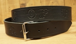 "Lederen riem ""  King of the road ""   Zwart"